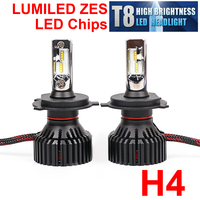 1 Set H4 H7 H8 H9 H11 9005 9006 60W 8000LM T8 LED Headlight LUMILED ZES Chips Fan Pure White 6500K All in one 12/24V Auto Bulbs
