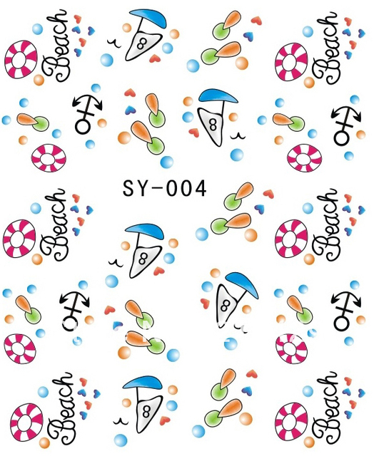 Free shipping NO. SY-004 Year 2012 Newest SY Series water transfer Nail art decals for wholesale