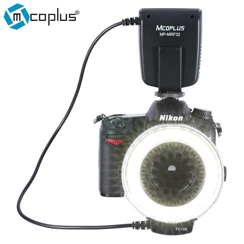Mcoplus MP-MRF32 मैक्रो रिंग फ्लैश लाइट Nikon कैमरा D3100 D7100 D7000 D5500 D5200 D5100 D5300 D3200 D3300 FC34 के रूप में D3400