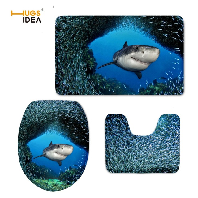 HUGSIDEA Cool 3D Animal Dolphin Printed Creative 3PCS Set Bathroom Toilet  Seat Cover WC Toilet Lid