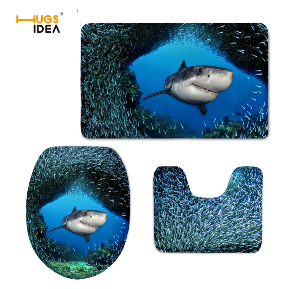 Cool toilet seat covers - Hugsidea Cool 3d Animal Dolphin Printed Creative 3pcs Set Bathroom Toilet Seat Cover Wc Toilet Lid