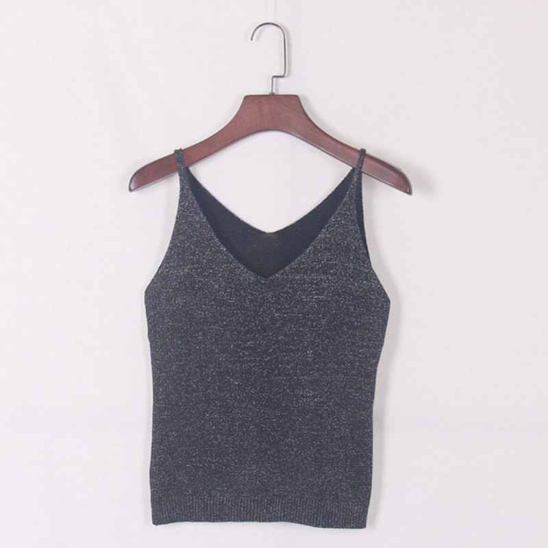 be0e47a7cd2 ... Sexy Knitted Tank Tops Women Gold Thread Top Vest Sequined V Neck Long  Tank Tops Blusa ...