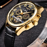 BINSSAW Men Automatic Mechanical Watch Tourbillon Leather Business Fashion Top Luxury Brand Gold Watches Relogio Masculino gifts