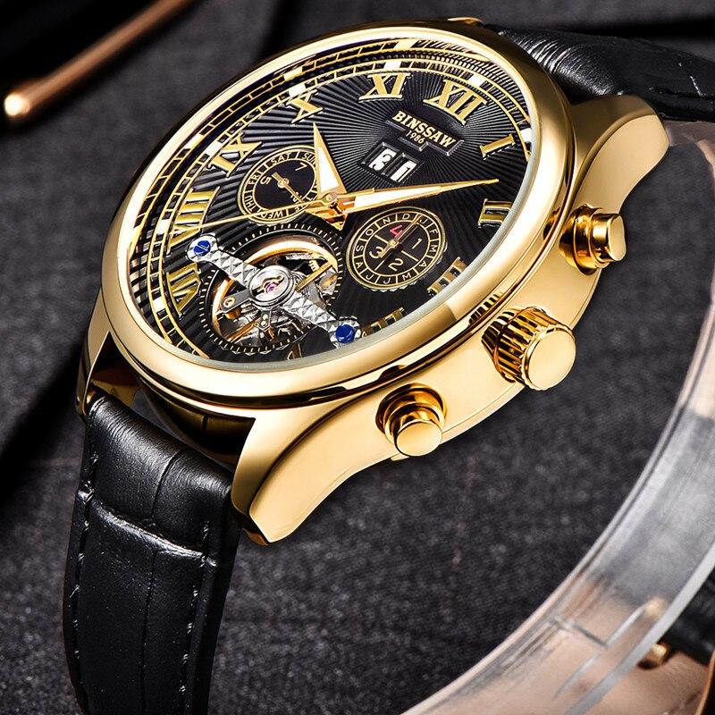 BINSSAW для мужчин автоматические механические часы Tourbillon кожа Бизнес Модный Топ Элитный бренд золото часы Relogio Masculino подарки