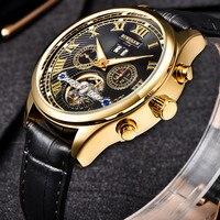 BINSSAW New Tourbillon Men Leather Fashion Stainless Steel Skeleton Top Luxury Brand Wrist Watch Business Style