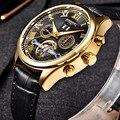 Homens Relógio Mecânico Automático Tourbillon Couro ESCARAVELHO presentes de Negócio Da Moda Top Marca De Luxo de Ouro Relógios Relogio masculino