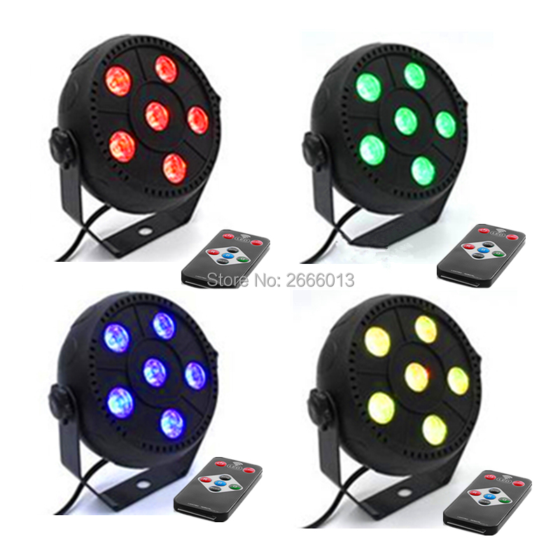 4pcs/lot Wireless Remote control 6x3w 3IN1 Slim RGB Magic Effect Par Stage Lights For Party Home KTV Bar Disco Mini LED Lamp