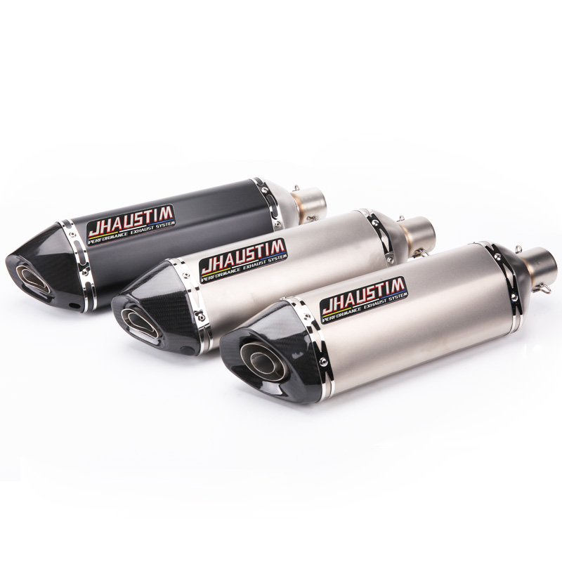 JHAUSTIM Inlet 51mm Universal Motorcycle Motorbike Exhaust Muffler Pipe Escape for R1 R15 ZX6R ZX10R Z800 TMAX500/530 FZ1 ect.