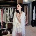 Мода Банный Халат Женщины Принцесса Длинная Ночь Халат Вышивка Ночной Рубашке Дамы Ночь Платье Пижамы Пижамы Домой Ткань Пижамы