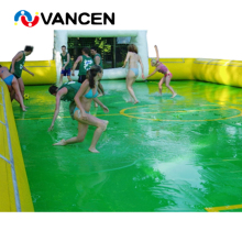 цена на Factory price inflatable soap soccer field football stadium for team sport game PVC material inflatable water soccer field
