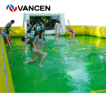 Factory price inflatable soap soccer field football stadium for team sport game PVC material inflatable water soccer field