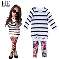 HE Hello Enjoy Baby girls clothing set 2016 autumn Kids clothes girls clothes Long Sleeve Stripe Tops Shirt+Floral Pants
