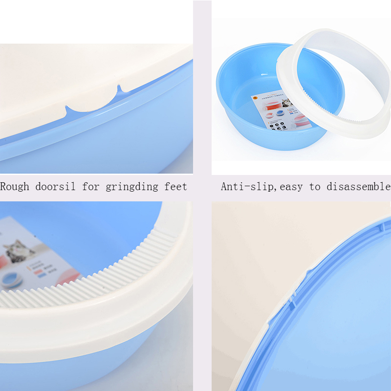 VOVOPET Dog Cat Litter Box Anti Splash Oval Plastic Indoor Home Kitten Small Dogs Tray Toilet Semi Closed Cats Bedpans in Cat Litter Boxes from Home Garden