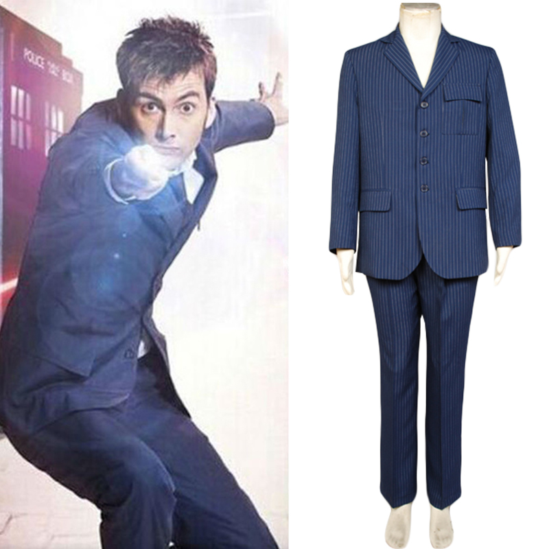 Who is Doctor Dr Brown Pinstripe Business Suit Blazer+Pants Costume Cosplay Set