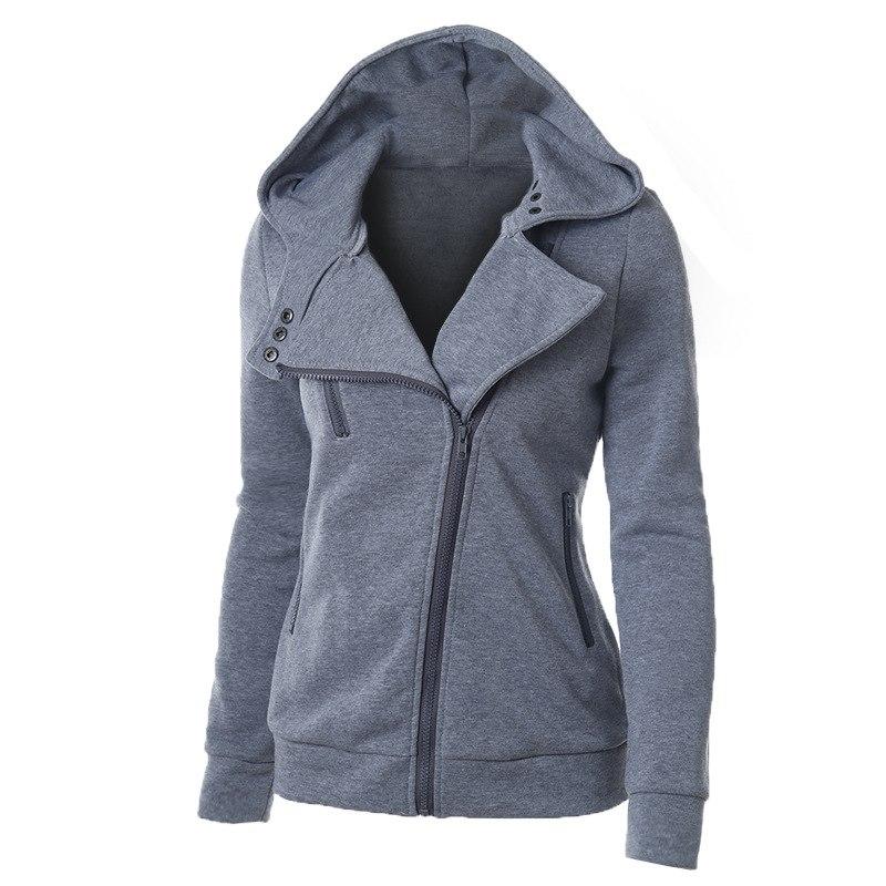 Spring Zipper Warm Hoodies Women Long Sleeve Hoodies Jackets Hoody Jumper Overcoat Outwear Female Sweatshirts,Gray,L,United States