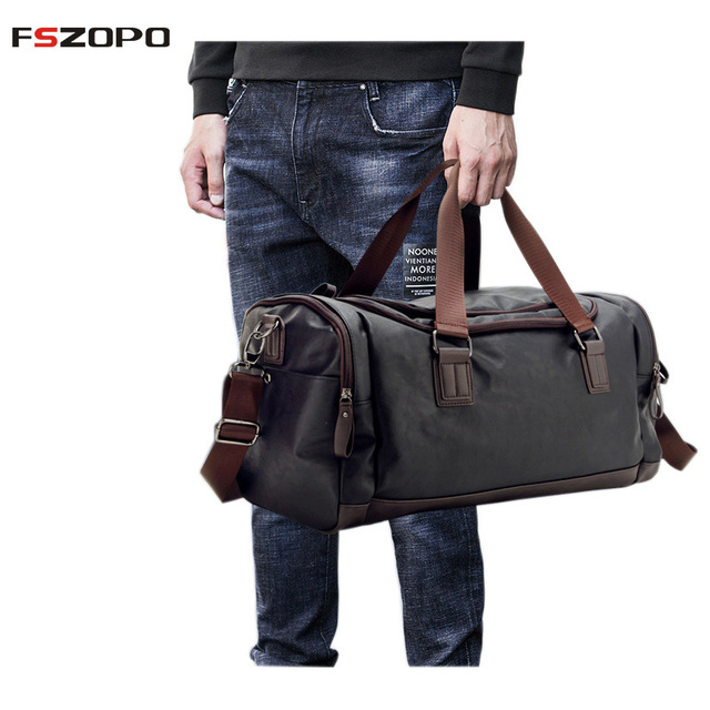 PU Leather Sports Gym Bag Hot Men Large Fitness Training Yoga Bags Tote  Travel Handbag Male Outdoor Shoulder Bag 17e8585b86