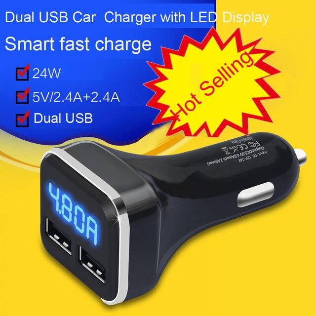 WUPP 2018 gran venta de carga de coche nuevo cargador de cigarrillo de coche Dual USB con pantalla LED Volt Amp Metro DC 4.8A 5 V # LD