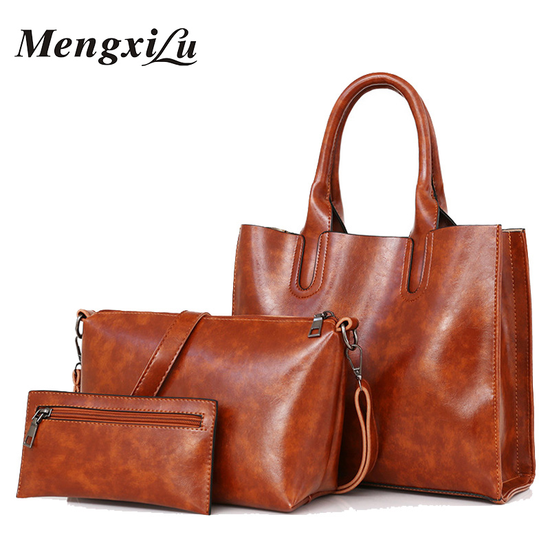 3 Pcs/Set Oil Wax Pu Leather Women Bag High Quality Casual Female Handbags Large Capacity Composite Bag Big Women Shoulder Bags high quality pu leather women shoulder bag elegant fashion women crossbody bag female casual large capacity solid messenger bag