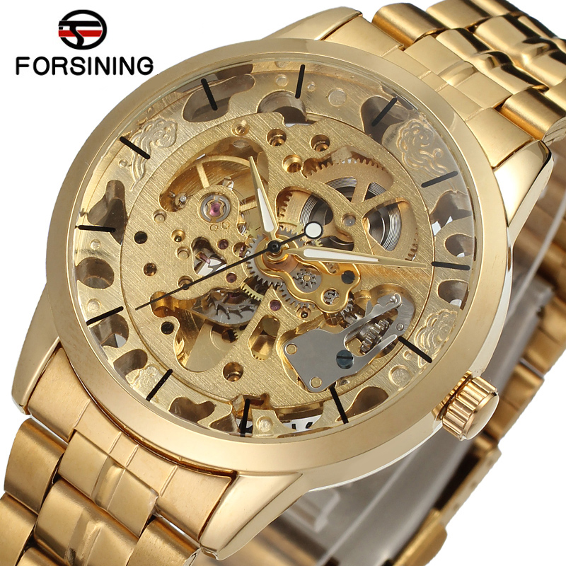 Luxury Men's Gold Full Steel Transparent Watch Skeleton Automatic Mechanical watches Steampunk Clock men Relogio Masculino 2017 luxury men s gold full steel transparent watch skeleton automatic mechanical watches steampunk clock men relogio masculino 2015