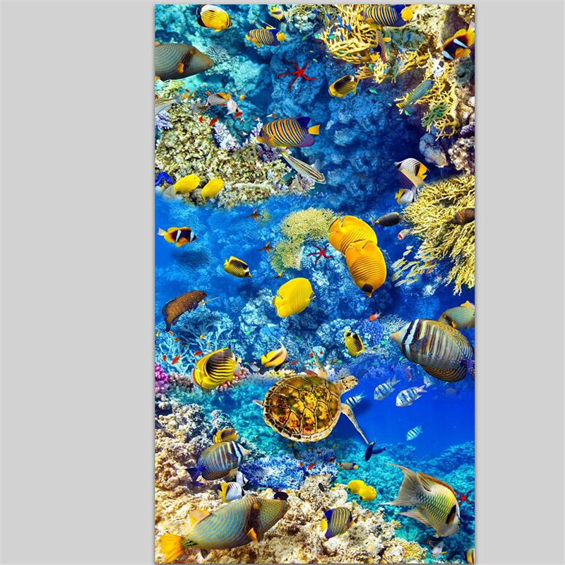 beibehang Custom 3D floor stickers Ocean World 3D flooring three-dimensional painting can be magnified ten times behang
