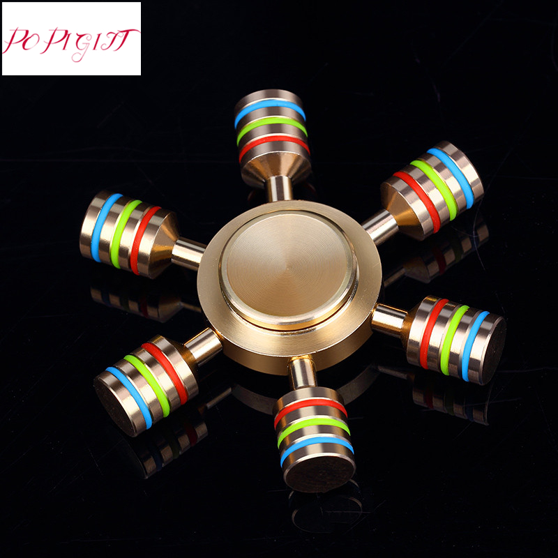 Brass Fidget Spinner Hand Toy Stress Reliever For Autism ADHD EDC Toy Brass Fidget Spinner Focus Keep Anti Stress Toys With Box stress reliever screaming hen squeezy toy small