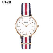 BAOGELA люксовый бренд кварцевые часы для любителей Повседневное холст пояса кварцевые-часы пару часов розовое золото ультра тонкие часы мужской 1609-1