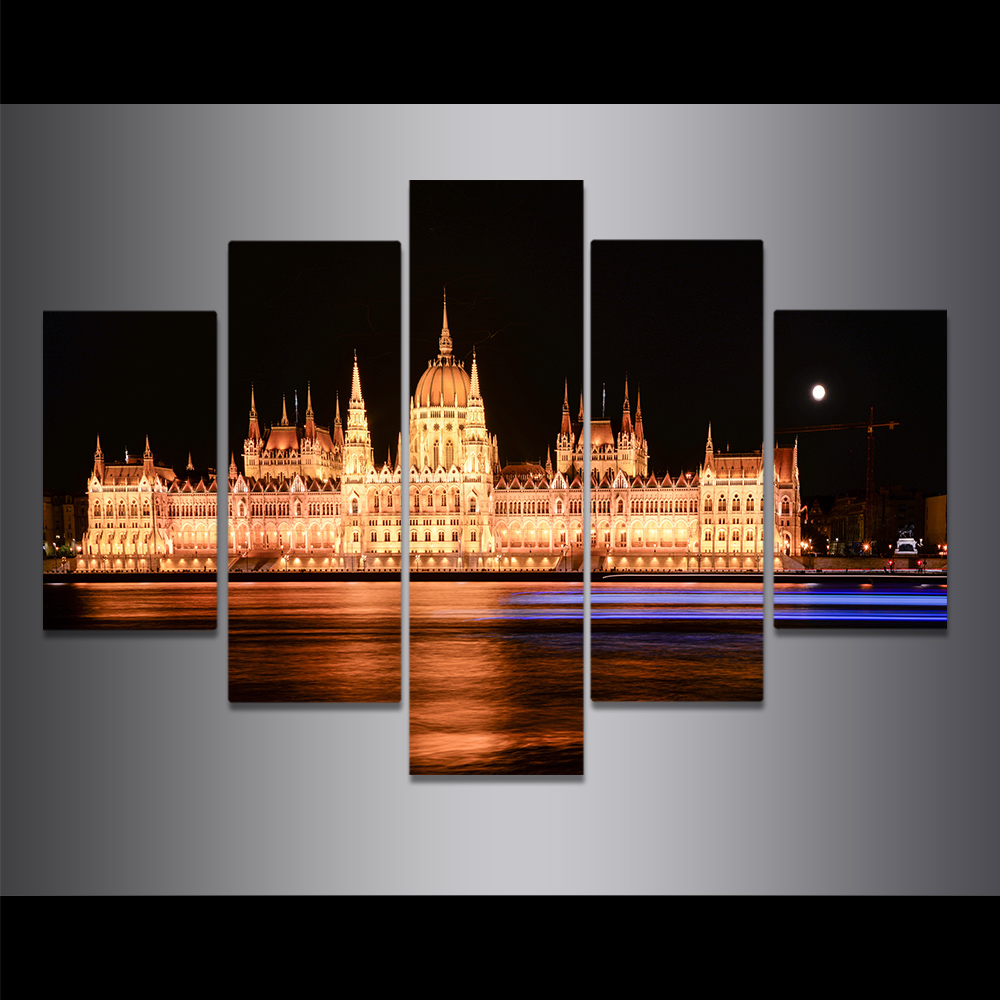 Unframed Canvas Painting Budapest Orszaghaz Night Lights Picture Prints Wall Picture For Living Room Wall Art Decoration