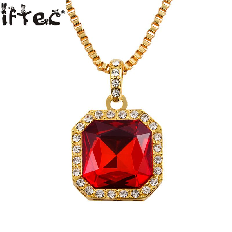 Mens Iced Out Hip Hop Square Pendant Necklace Red Stone Charm ...