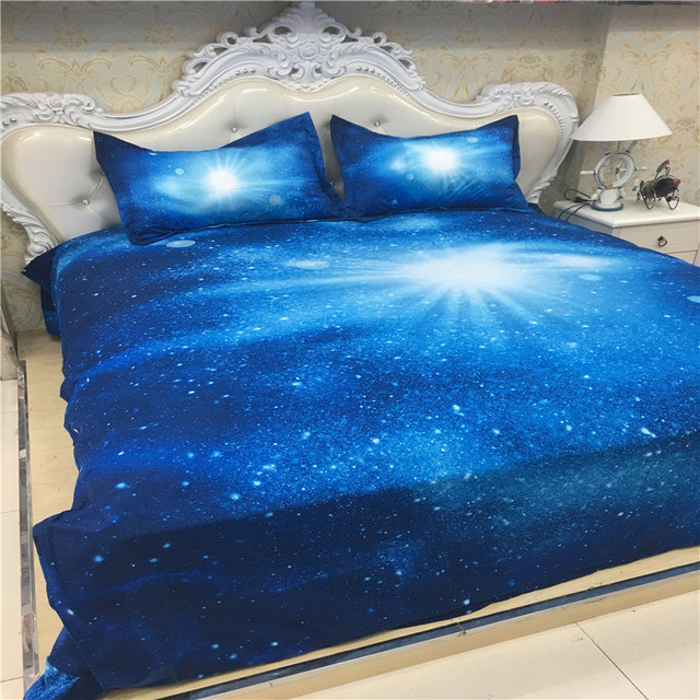 Xk 013 Royal Blue Galaxy Bed Set Kids Single Bedding Double Duvet Cover