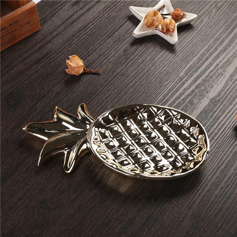 Pineapple Stripe Cake Plate Ceramic Jewelry Display Dish