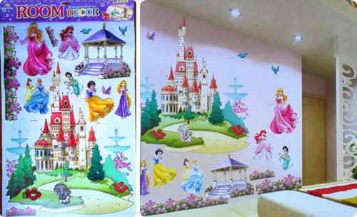 large princess castle fairy wall decals wall stickers 3d mural kids room decor in wall stickers from home garden on aliexpresscom alibaba group - Room Decor 3d