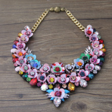 shourouk colorful luxury statement vintage flower collar necklace for women jewelry gem crystal necklace 913