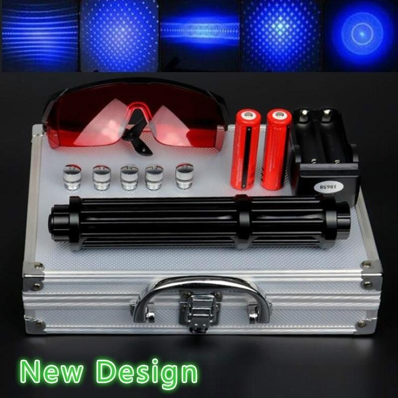 Haute puissance 2 w allonger les pointeurs Laser bleu 450nm Laser vue lampe de poche allumette/brûler les cigares/bougie/chasse