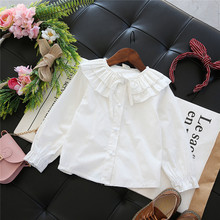 Children Blouses Long Sleeve Floral Embroidery Girls White Shirts 2017 New Fashion Baby for Kids Shirts Clothes