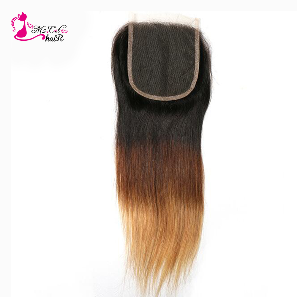 Ms Cat Hair Ombre Color 1B/4/27 3 Tone Brazilian Straight Hair 4''x 4'' Free Part Swiss Lace Closure Remy Human Hair Closure