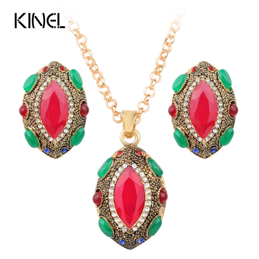 Turkish Jewelry Nigerian Wedding African Beads Lucky Eye Earrings Necklace For Women Gold Color Jewelry Set
