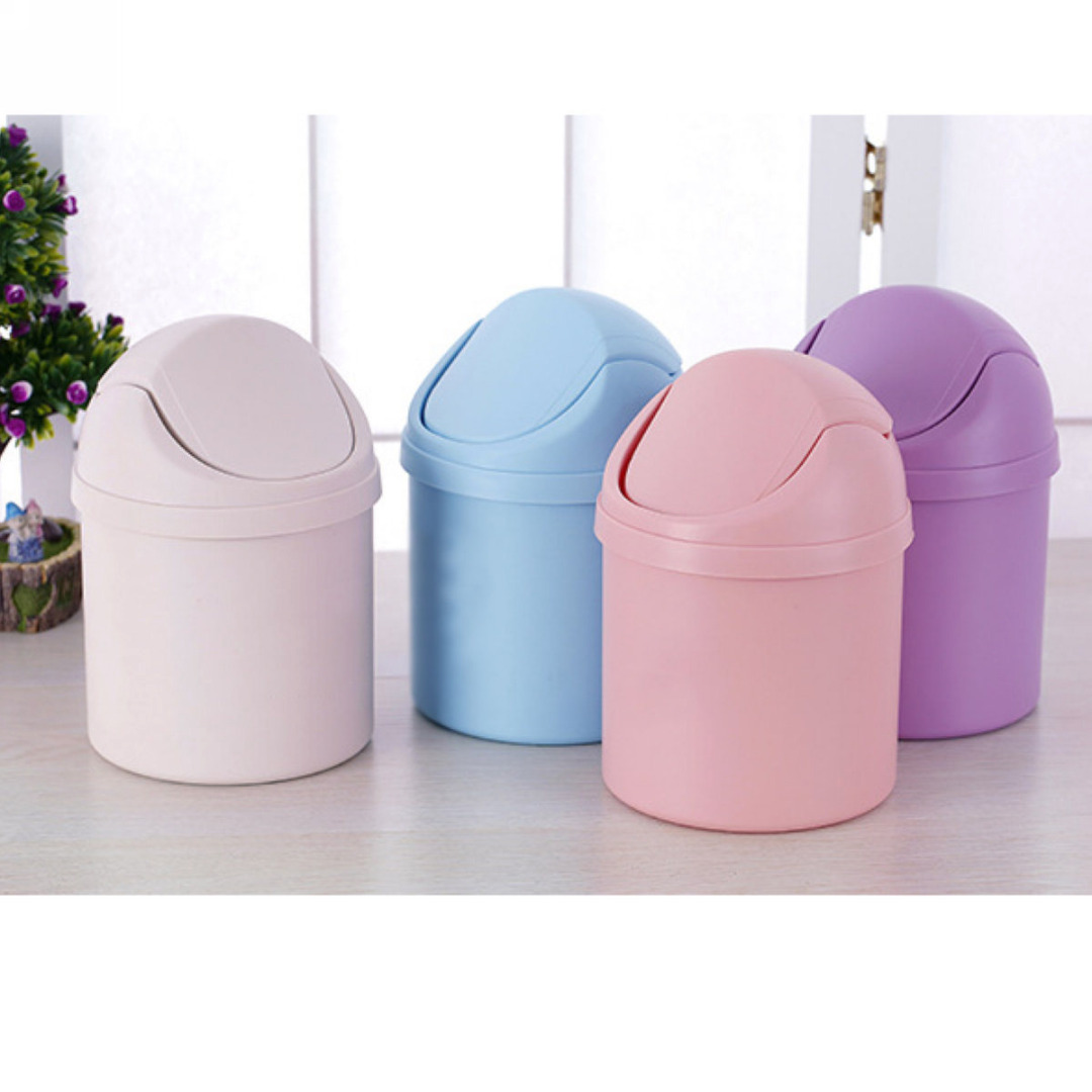 1pc Mini Trash Can Desktop Garbage Basket Table Garbage Bin Vehicle Trash Cans for Household Cleaning Tool