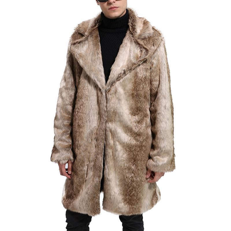 Autumn And Winter Men's Suit Neck Faux Fur Coat Long-Sleeved Thicken Mid-Length Style Overcoat Outwear Parka