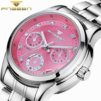 FNGEEN Three Colors Small Dial Pink Yellow White Casual Watches Top Brand Luxury Automatic Mechanical Women