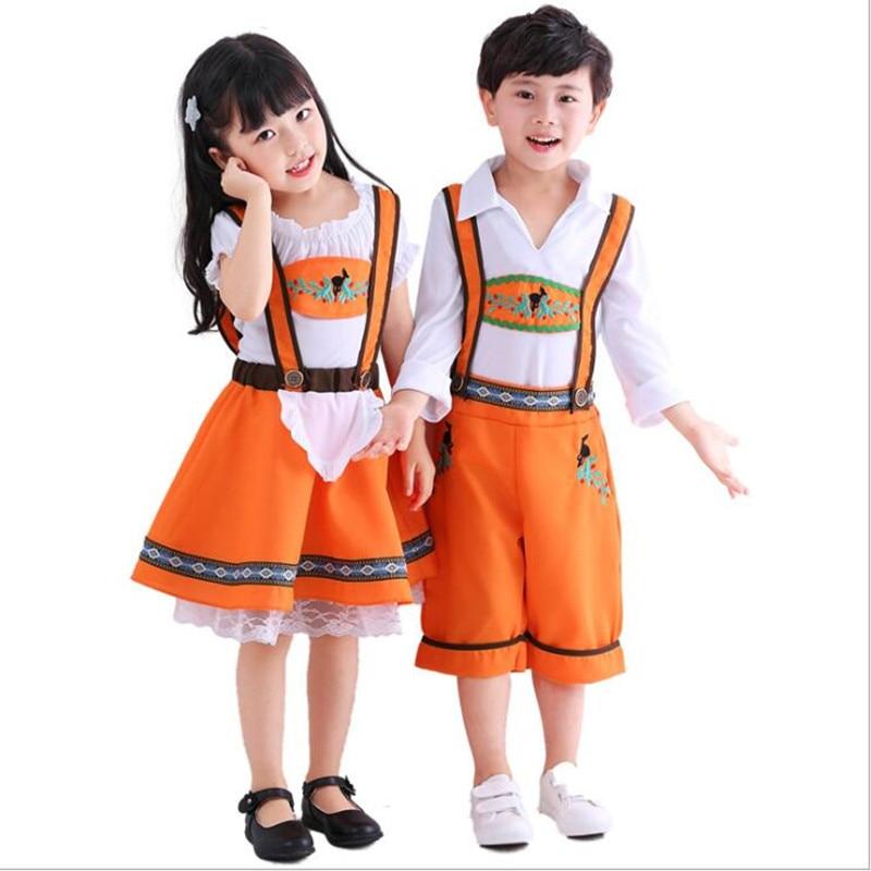 Children Bavarian Oktoberfest Costumes Boys German Beer Cosplay Girls Beer Waiter Dress Cosplay Costume For Kids XS-XL