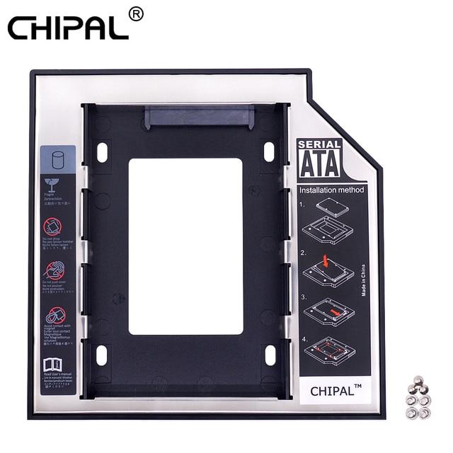 "CHIPAL Universal 2nd HDD Caddy 12,7mm SATA 3,0 de 2,5 ""SSD Disco Duro caja + indicador LED para ordenador portátil CD DVD ROM óptico"