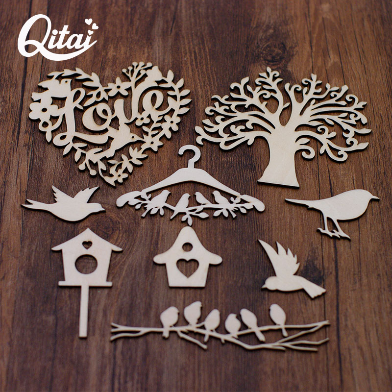QITAI 28PCS/SET Wooden Family Tree Set With Birds And Cages Love Word DIY Scrapbooking Crafts Home Decoration Accessories WF314