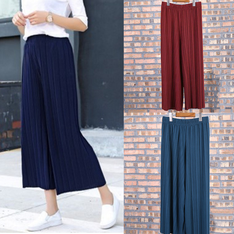 9colors black red army green summer hot women pleated wide leg pants stretchy High Waist loose casual Chiffon trousers Flare