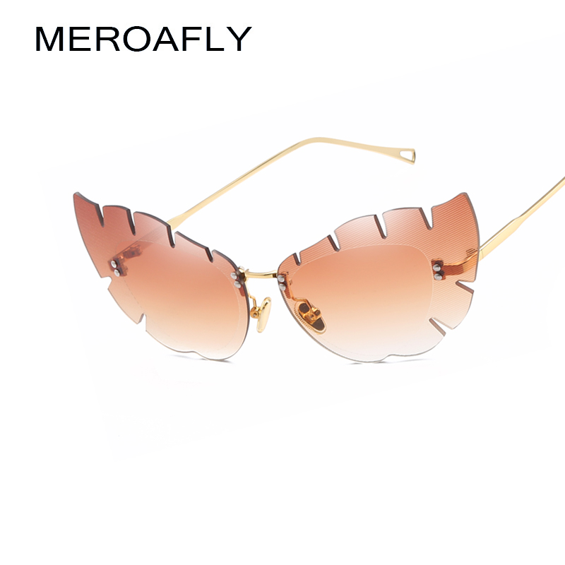 MEROAFLY Rimless Cat Eye Sunglasses Women Brand Designer Vintage Gold Brown Butterfly Shaped Sun glasses For Women 2018 Oculos