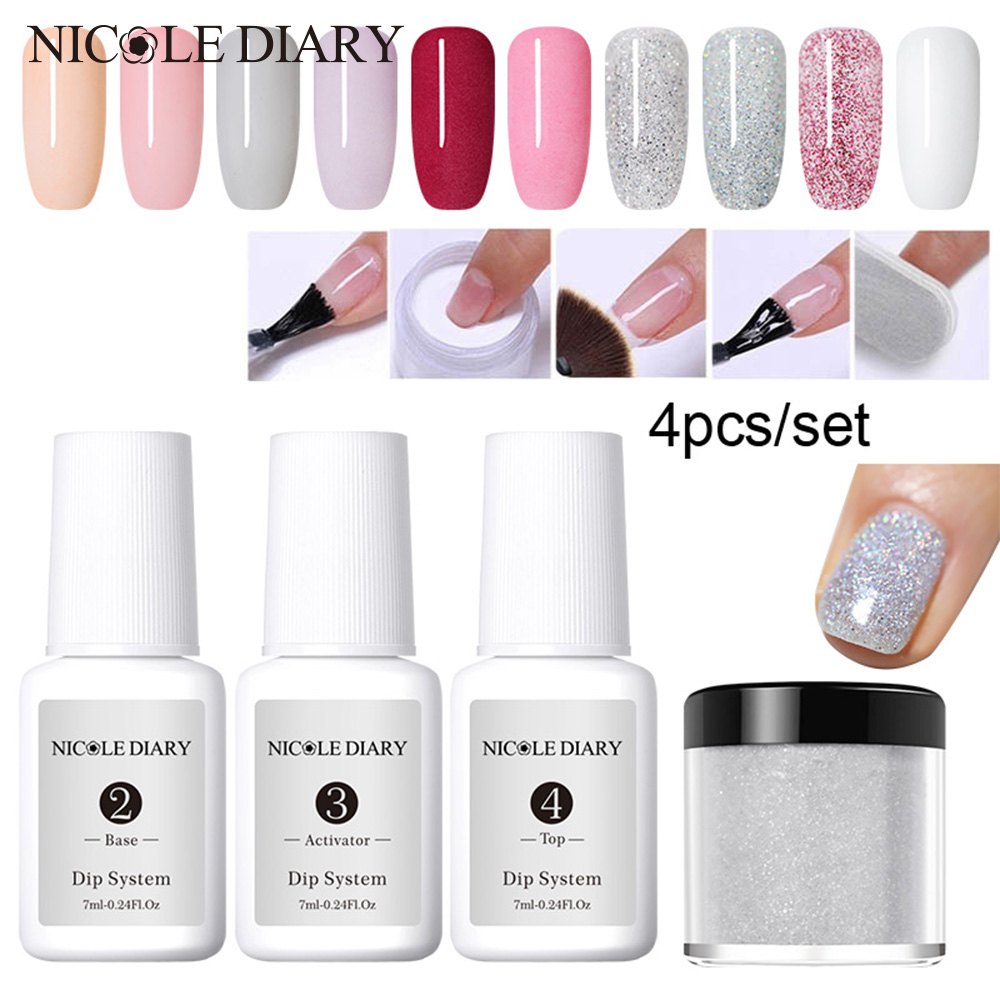 4Pcs/Set Dipping System Nail Kit Dipping Nail Powder With Base Activator Liquid Gel Nail Color Natural Dry Without Lamp Nail
