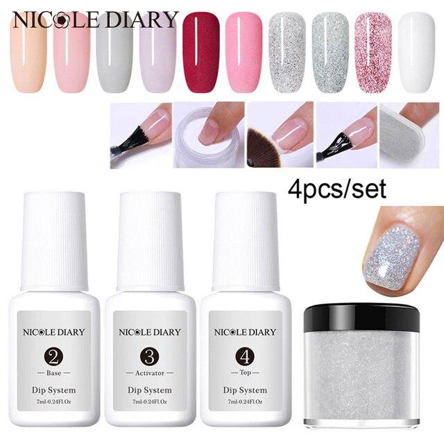 4Pcs/Set Dipping System Nail Kit Dipping Nail Powder With Base Activator Liquid Gel Nail Color Natural Dry Without Lamp Nail