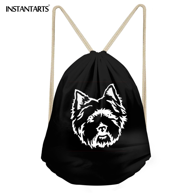 INSTANTARTS Gym Sack For Teenager Girl Boy 3D Cute Puppy /Pretty Dog Pomeranian Print Large Drawstring Bag Men's Beach Backpack