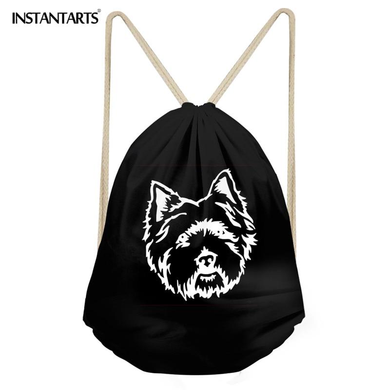 INSTANTARTS Gym Sack For Teenager Girl Boy 3D Cute Puppy /Pretty Dog Pomeranian Print Large Drawstring Bag Men's Beach Backpack