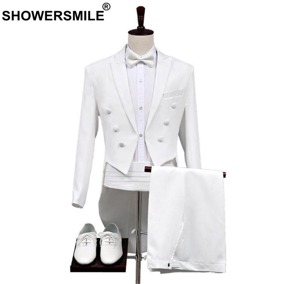 jacke + Pants + Blet + Krawatte Marke Dünne Leiter Magier Zeigen Terno Masculino Herren Weiß Elegante Hochzeit Bräutigam 4 Stück Smoking Anzüge