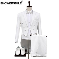 SHOWERSMILE White Suit Men Wedding Groom Swallow tailed Coat British Tuxedo Men Suits Regular Fit Stage Singer Tuxedo Jacket
